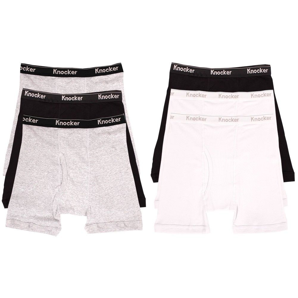 6-Mens-Boxer-Briefs-100-Cotton-Black-Gray-White-Underwear-Pair-Lot-S-M-L-XL-XXL