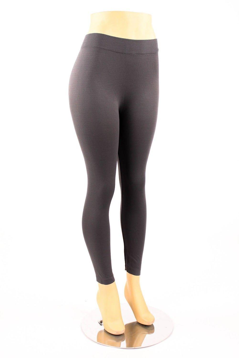 Plus Size Leggings Solid Color Plain Basic Seamless Full Length ...