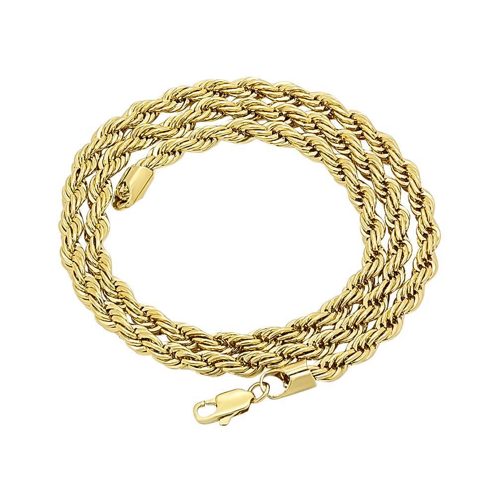5mm Thick 14k 25 Mills Gold Plated Braided French Rope Chain Necklace, 20