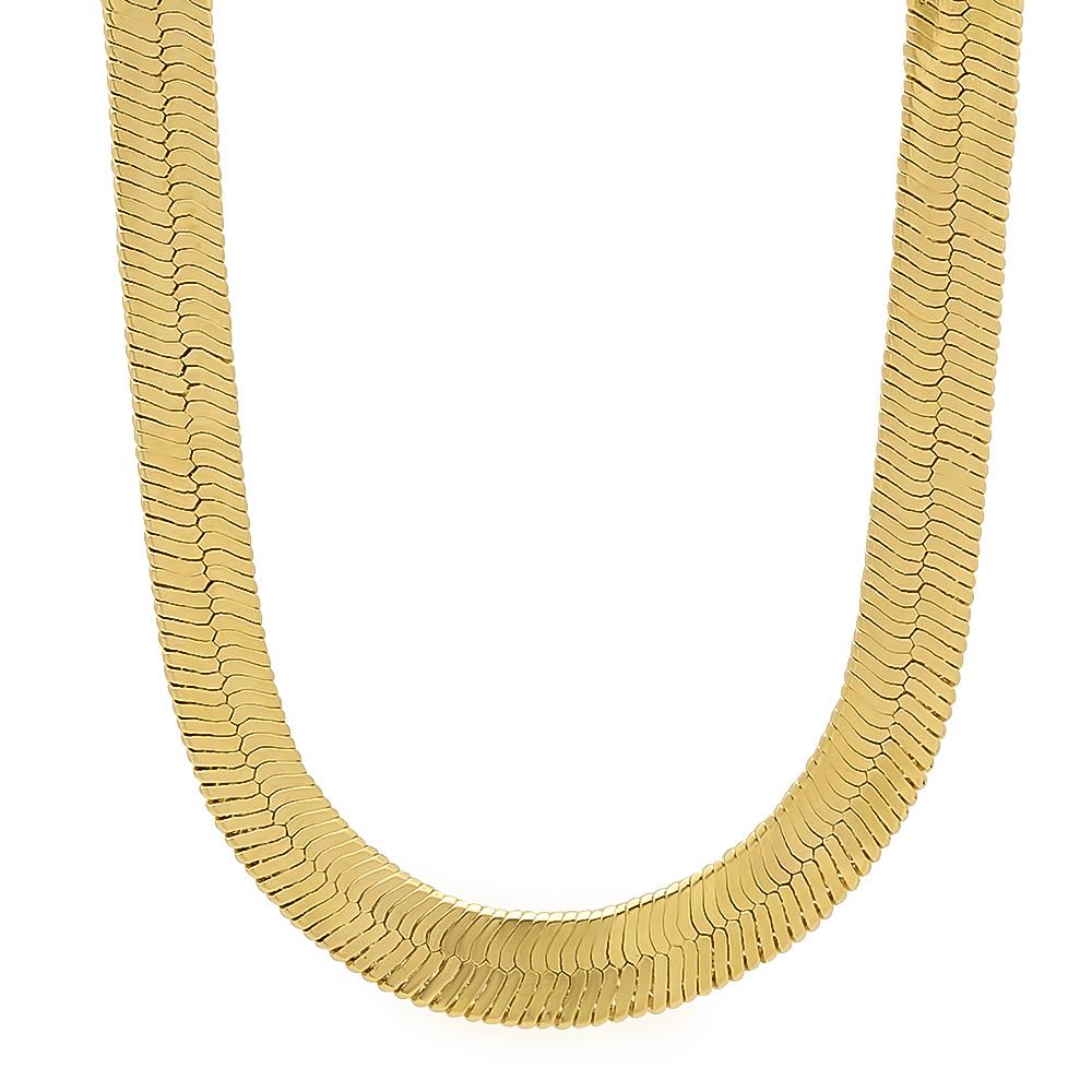 s 9mm wide 14k yellow gold layered flat herringbone