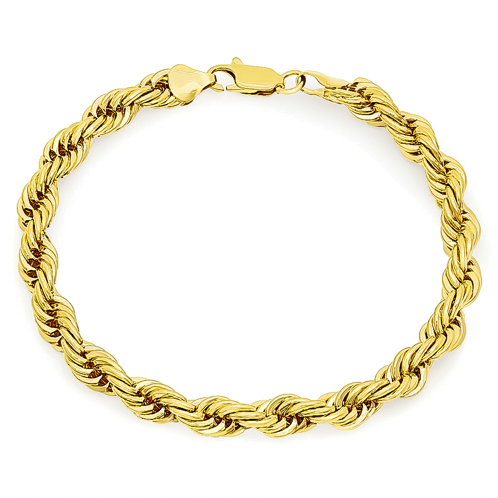 7mm 14k gold plated french rope chain. Black Bedroom Furniture Sets. Home Design Ideas