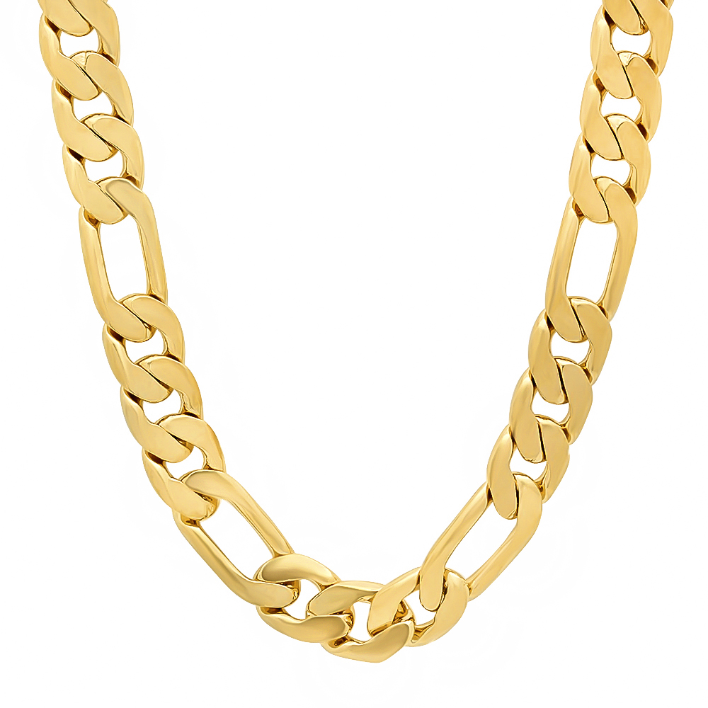 Thug Fashion Men's 10mm Wide Yellow Gold-Plated High Polish Figaro Chain Link Necklace