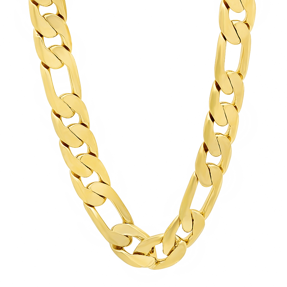 Thug Fashion Men's 12mm Wide 14K Yellow Gold-Plated Polished Classic Figaro Link Chain