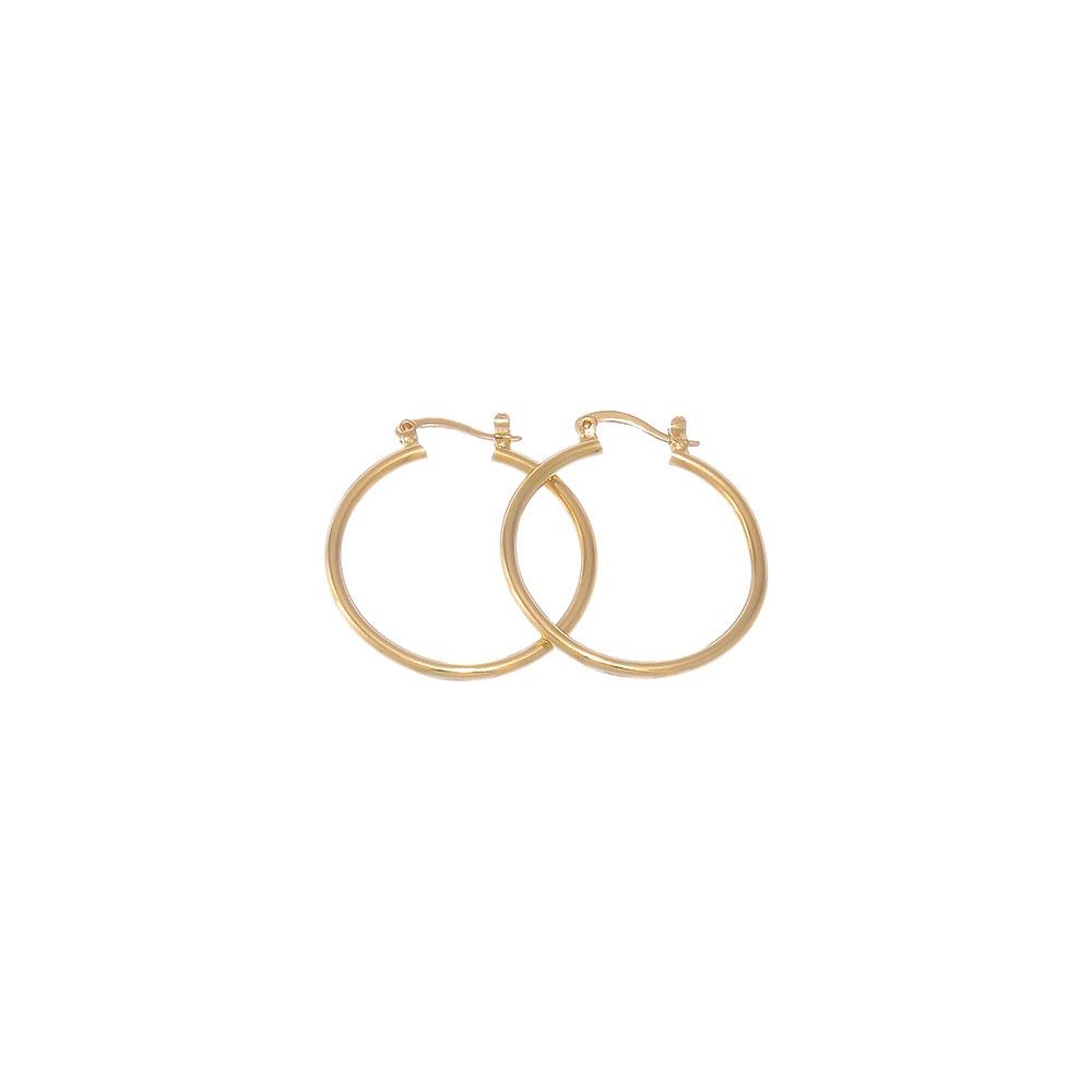 Gold Layered Classic 2mm Thick Hoop Earrings + Microfiber Jewelry Polishing Cloth 55y8JPKJ