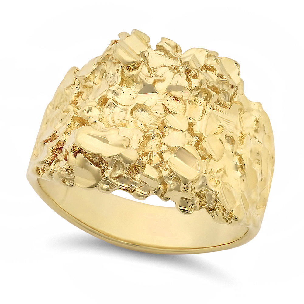 Men's Large Classic Chunky Nugget Ring With 14kt Yellow