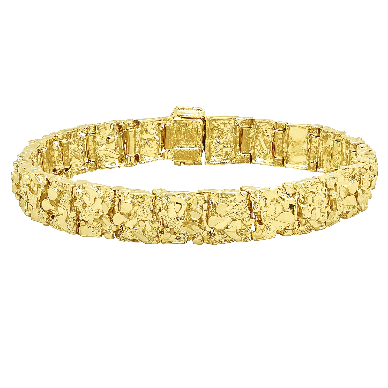 mens thick 11mm wide gold nugget link bracelet real 14k