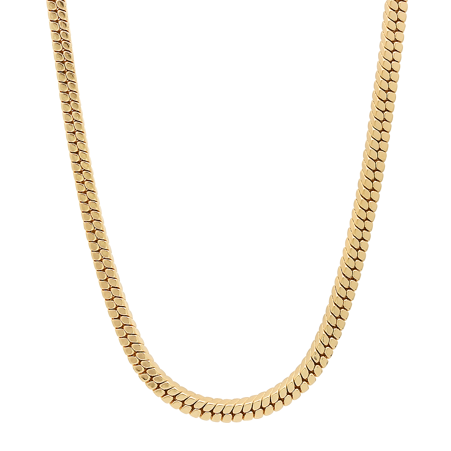 The Bling Factory Men's 36 Inch 4 mm 14k Yellow Gold Plated Serpent Snake Long Hip Hop Neck Chain