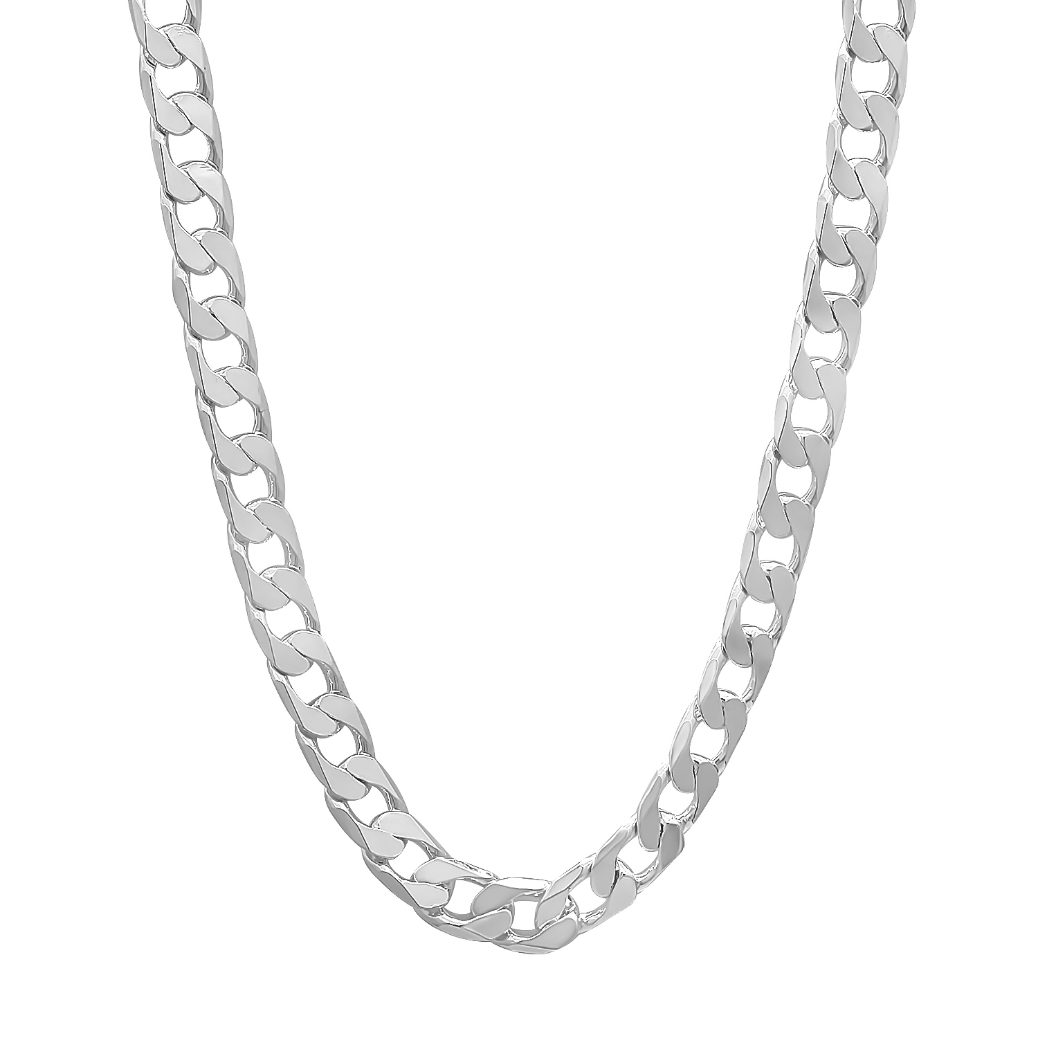 6 mm .925 Sterling Silver Plated Overlay Cuban Link Curb ...