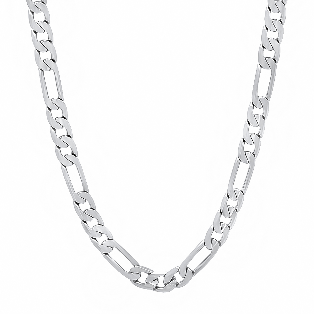 Thug Fashion Men's 4 mm Thin 14k White Gold Plated Layered Filled Rhodium Figaro Link Chain
