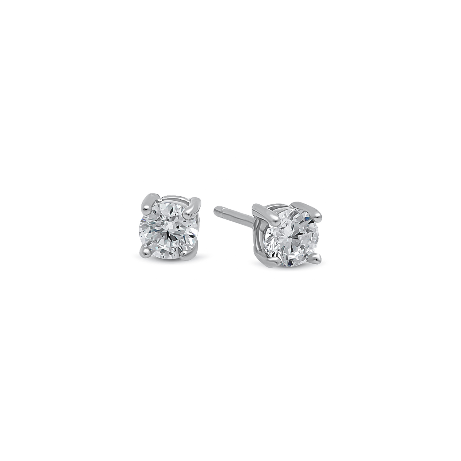 925 Sterling Silver Round Clear Diamond Cut CZ Basket Set Stud Earrings, Rhodium Finish - Made in Italy