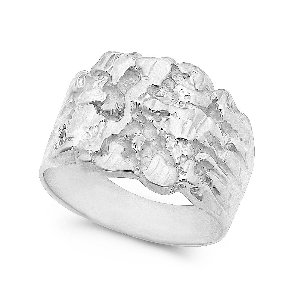 Thug Fashion Men's Large .925 Sterling Silver Chunky Style Heavy Gold Nugget Style Ring