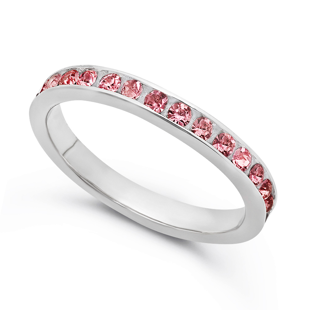 Women's Sterling Silver Eternity Band October Pink ...