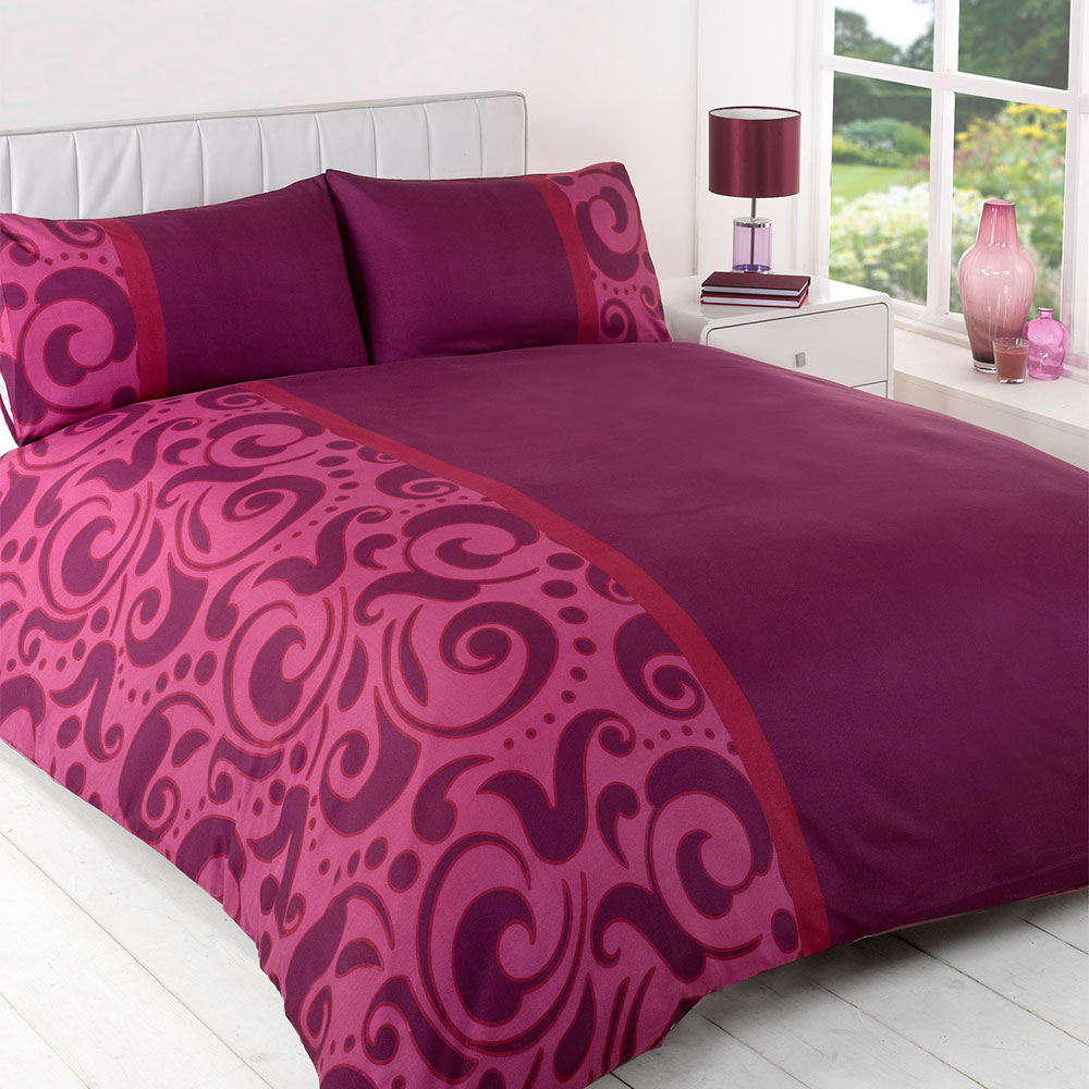 barola plum duvet bedding set single double king size. Black Bedroom Furniture Sets. Home Design Ideas