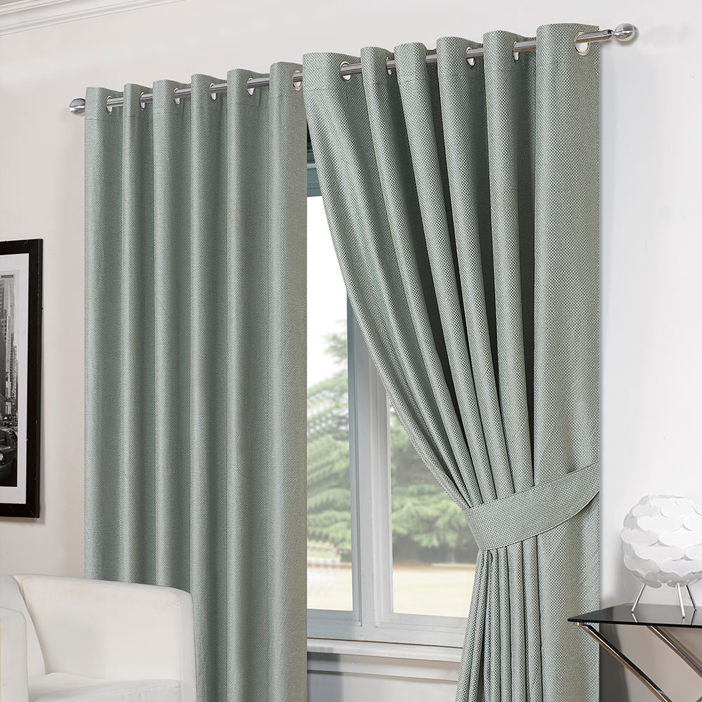 Thermal curtains grey - Basket Weave Pair Thermal Curtains Ready Made Eyelet
