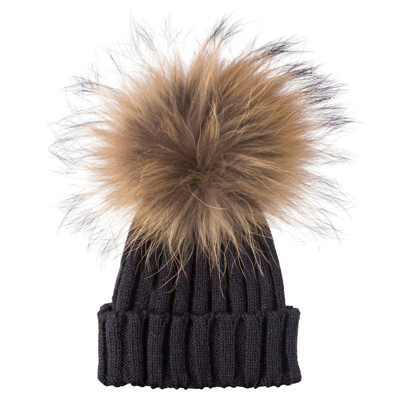 farmed raccoon fur pom pom hat diamante warm