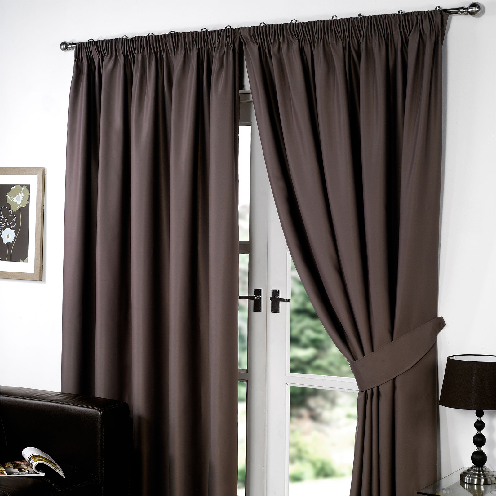 Thermal Pencil Pleat Blackout Pair Curtains Ready Made Fully Lined Free Tiebacks Ebay