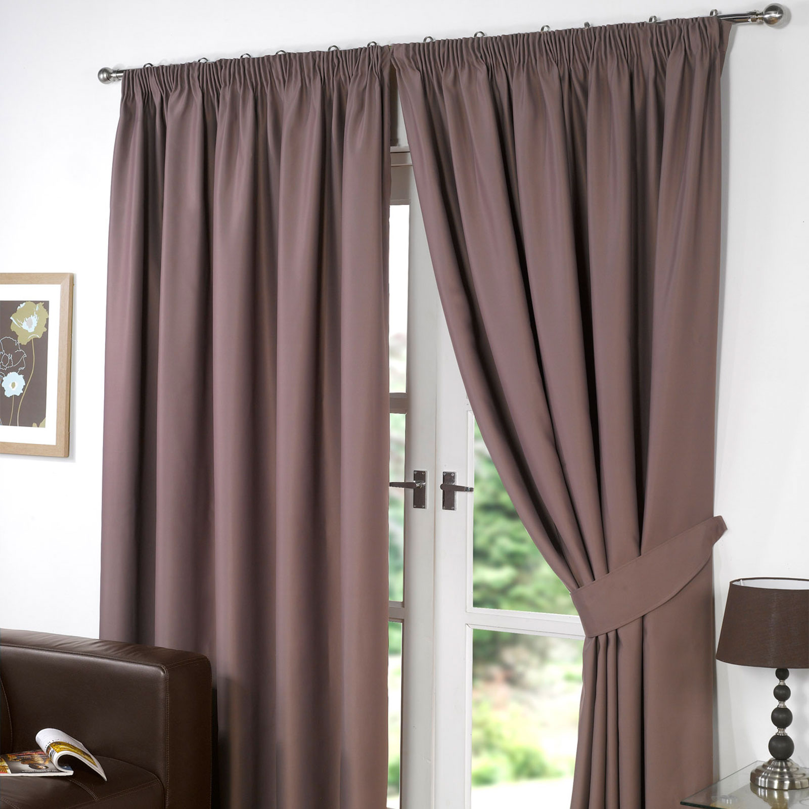 thermal pencil pleat blackout pair curtains ready made. Black Bedroom Furniture Sets. Home Design Ideas