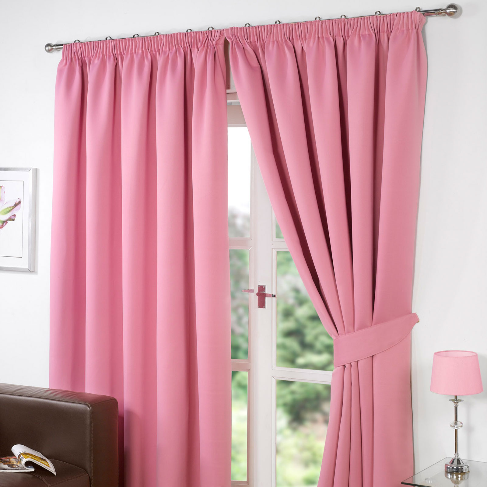 Drapery holdbacks window treatment hardware ebay - Thermal Pencil Pleat Blackout Pair Curtains Ready Made Fully Lined Free Tiebacks