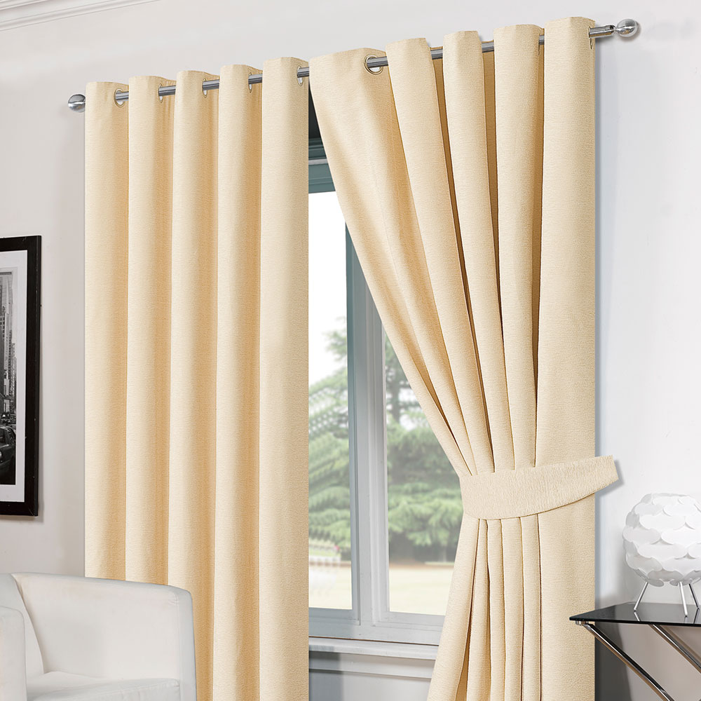 Drapery holdbacks window treatment hardware ebay - Luxury Ring Top Eyelet Chenille Lined Thermal Ready Made Curtains With Tie Backs