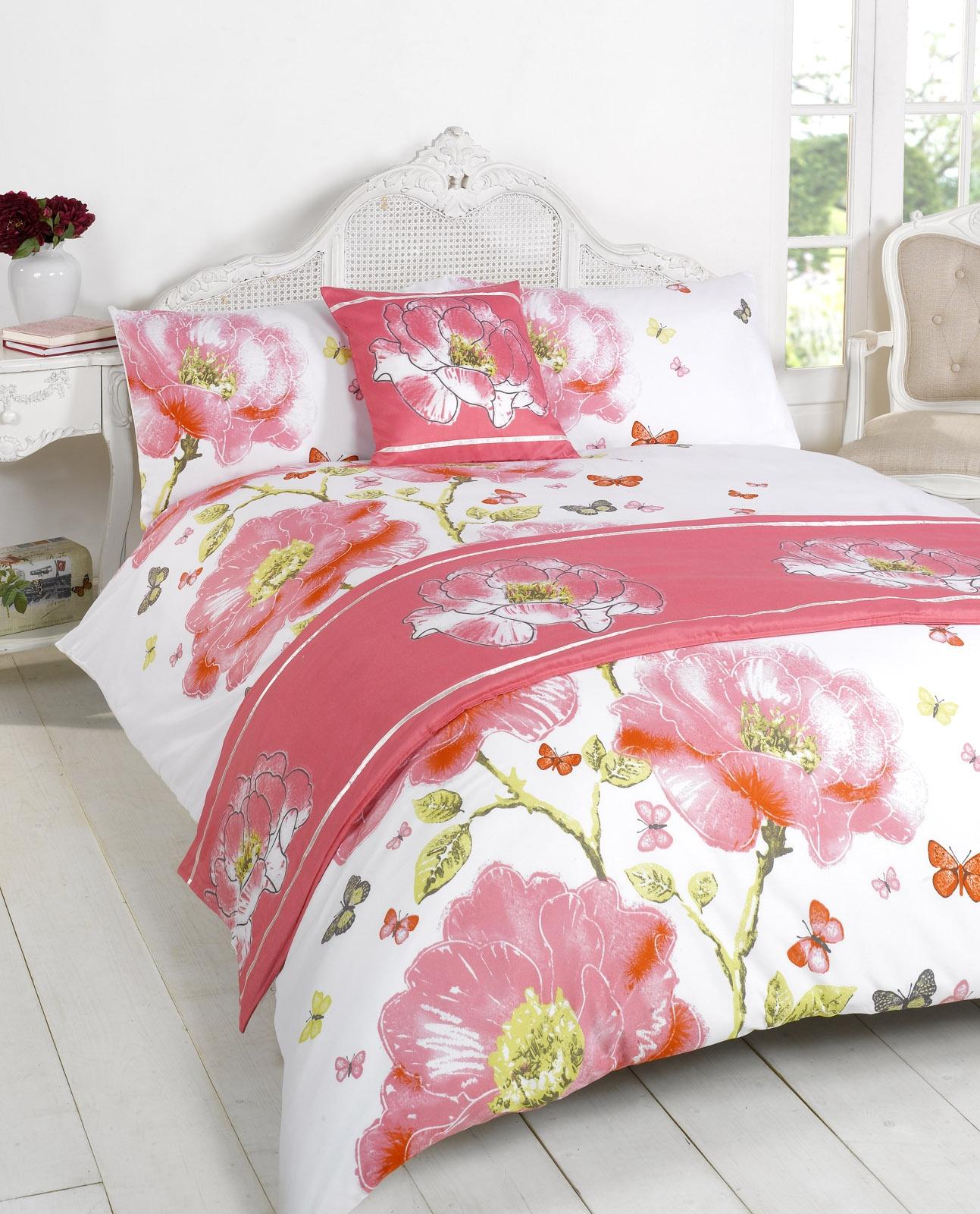 duvet quilt bedding bed in a bag pink single double king kingsize super king ebay. Black Bedroom Furniture Sets. Home Design Ideas