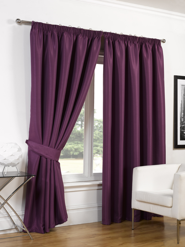 Luxury Faux Silk Blackout Curtains Ready Made Pencil Pleat Lined Free Tiebacks Ebay