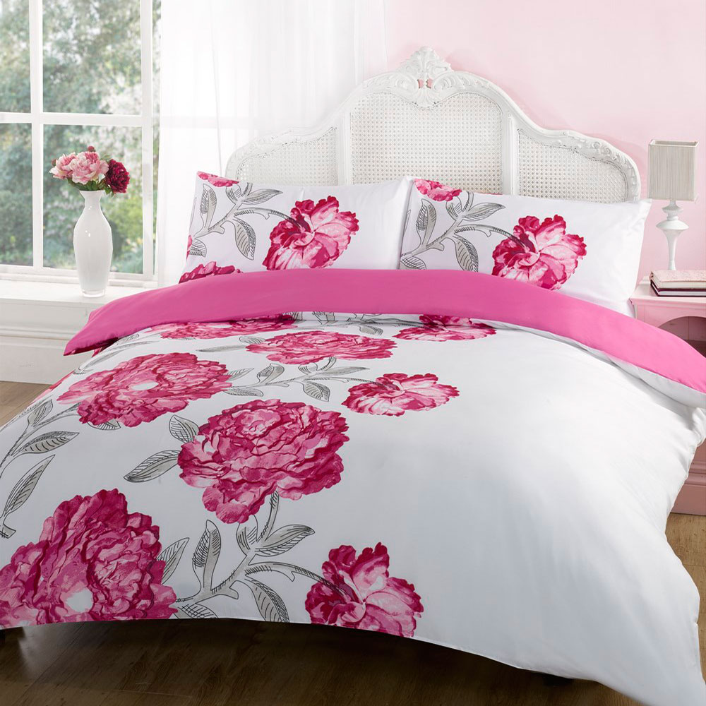 Duvet Quilt Cover Bedding Set Pink Single Double King