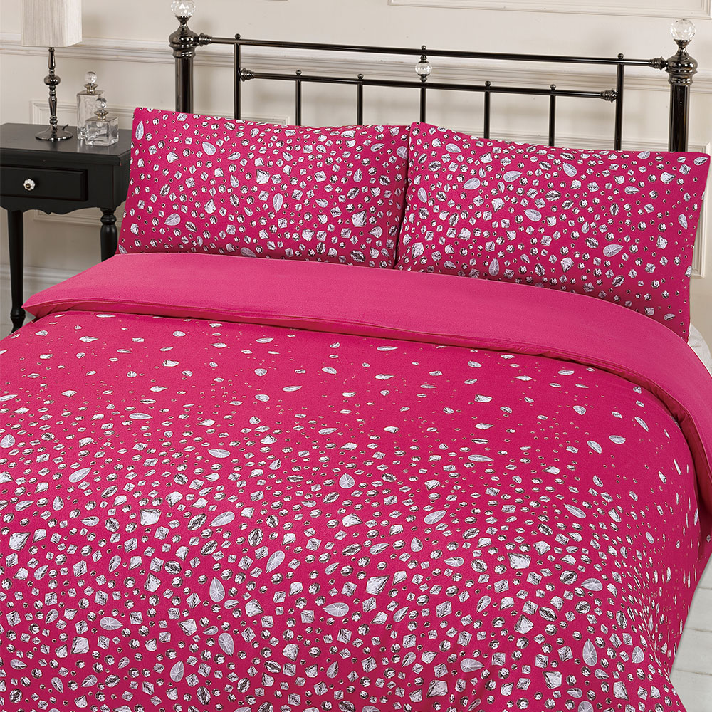 Glitz Diamante Print Duvet Cover With Pillowcases Hot Pink