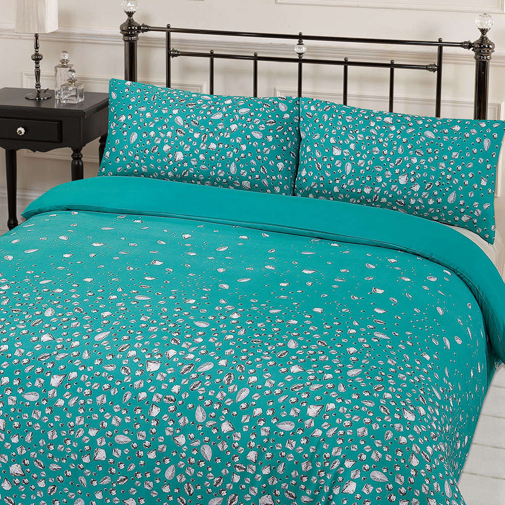 Glitz Gem Print Quilt Duvet Cover With Pillowcases Bedding