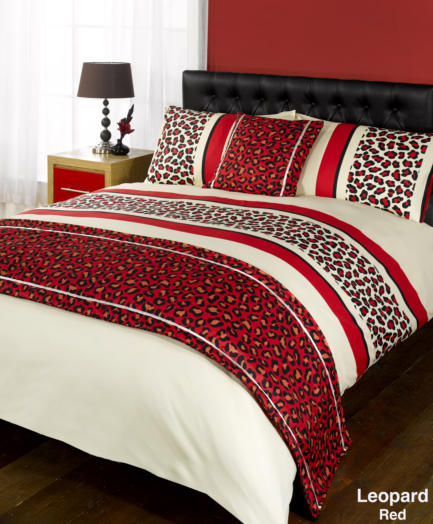 Leopard and red bedding - Duvet Cover With Pillow Case Quilt Bedding Set Bed In A Bag Double King All Size