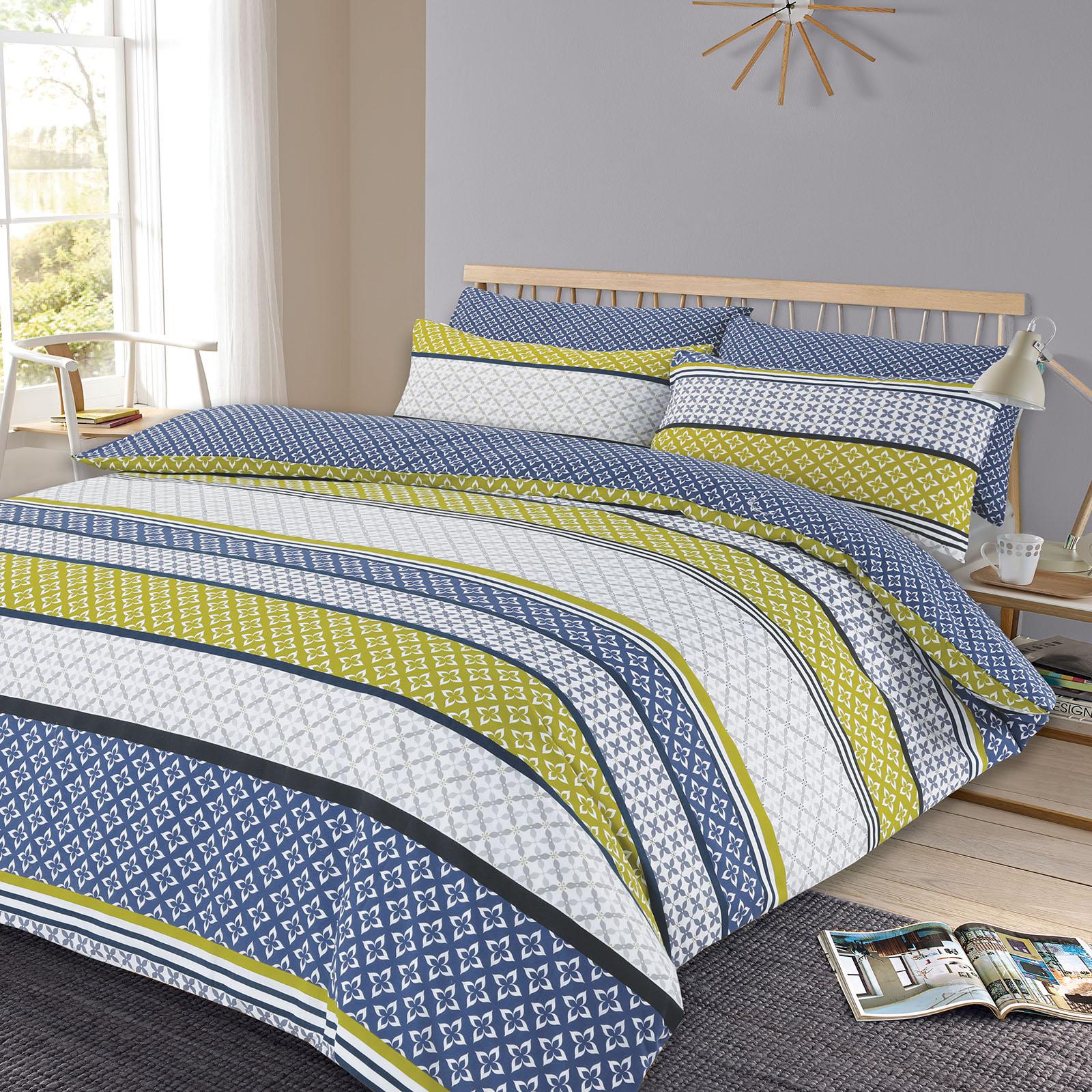 duvet cover with pillowcase reversible bedding set lola blue  - duvetcoverwithpillowcasereversiblebeddingsetlola