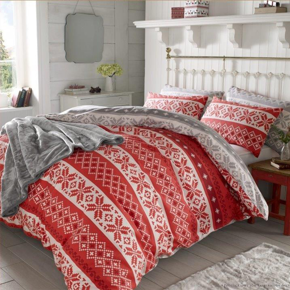 christmas nordic duvet cover thermal  brushed cotton xmas  - christmasnordicduvetcoverthermalbrushedcotton