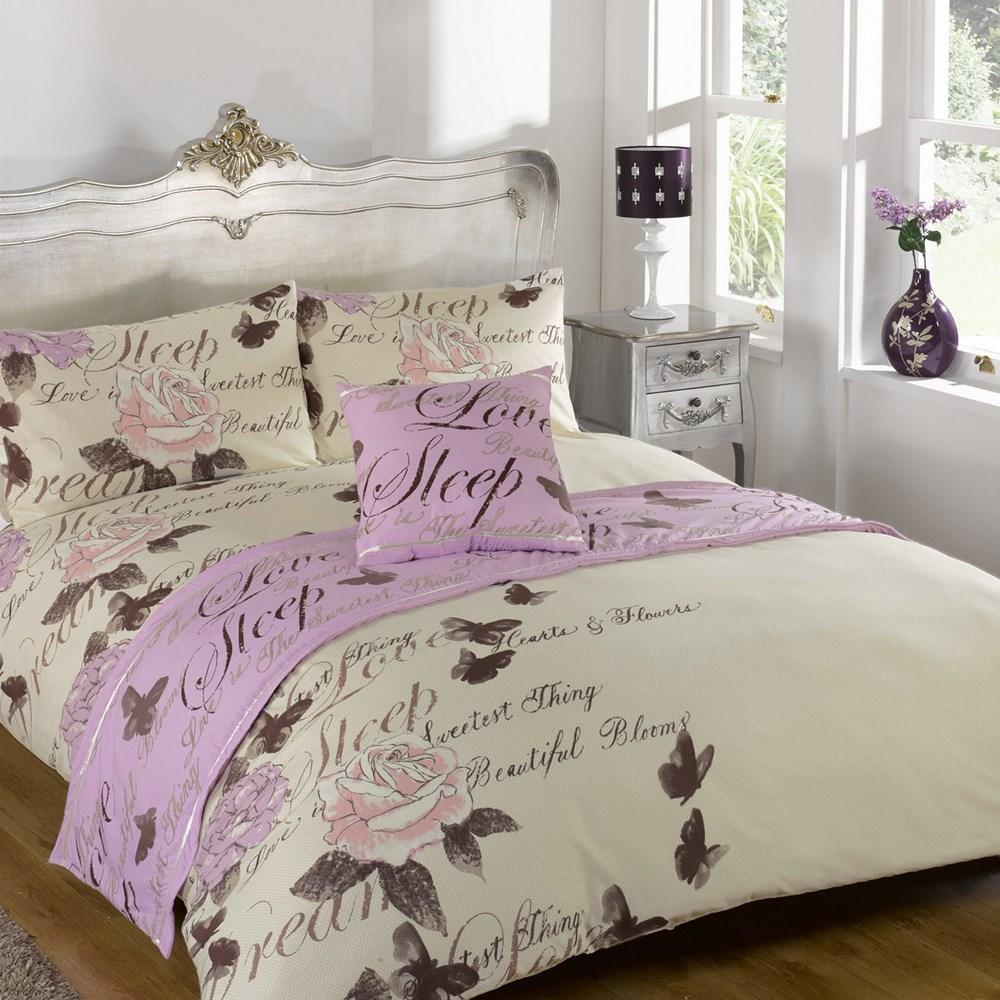 odette lilac quilt bed in a bag set single double king. Black Bedroom Furniture Sets. Home Design Ideas