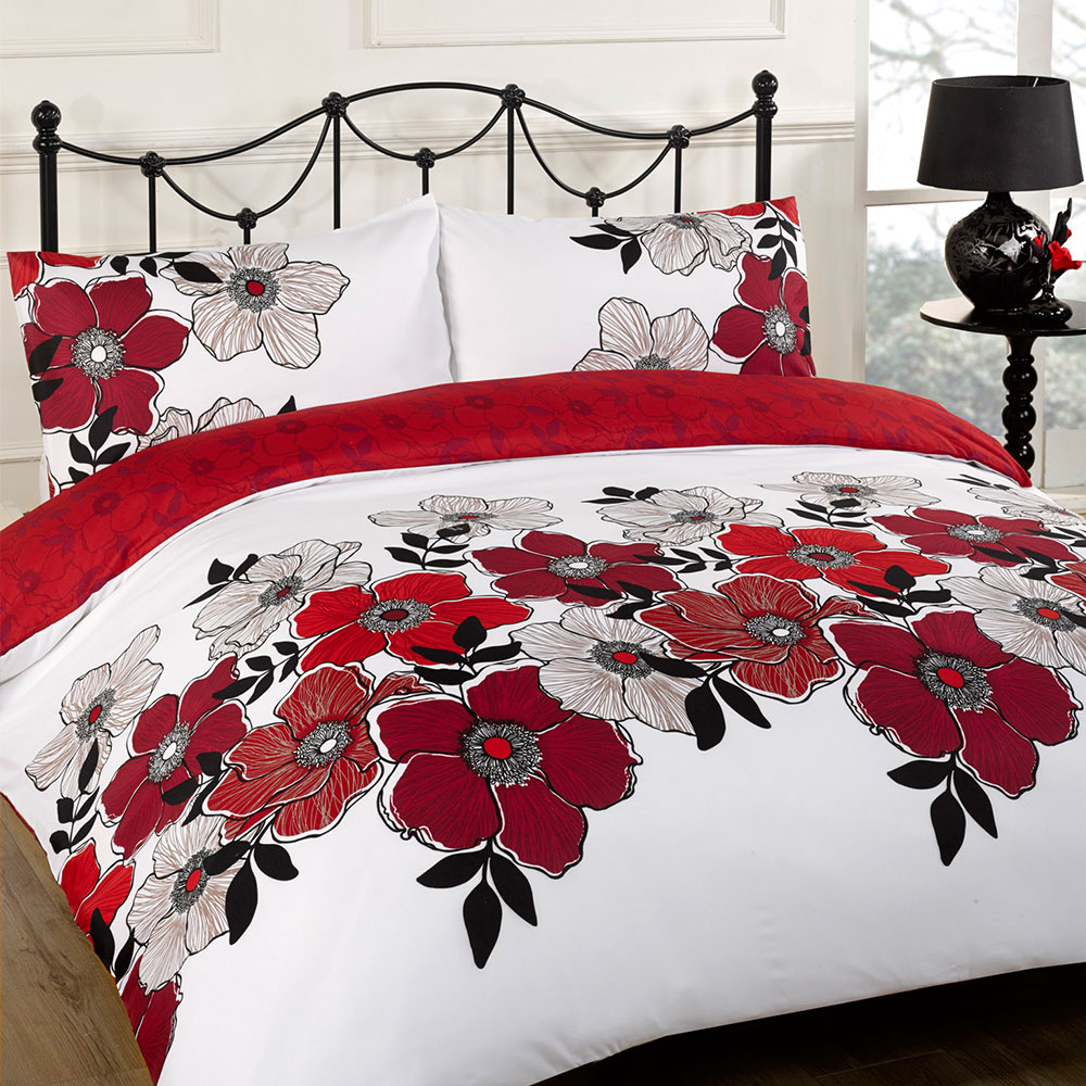 White and red bed sheets - Duvet Quilt Cover Bedding Set Red White Single