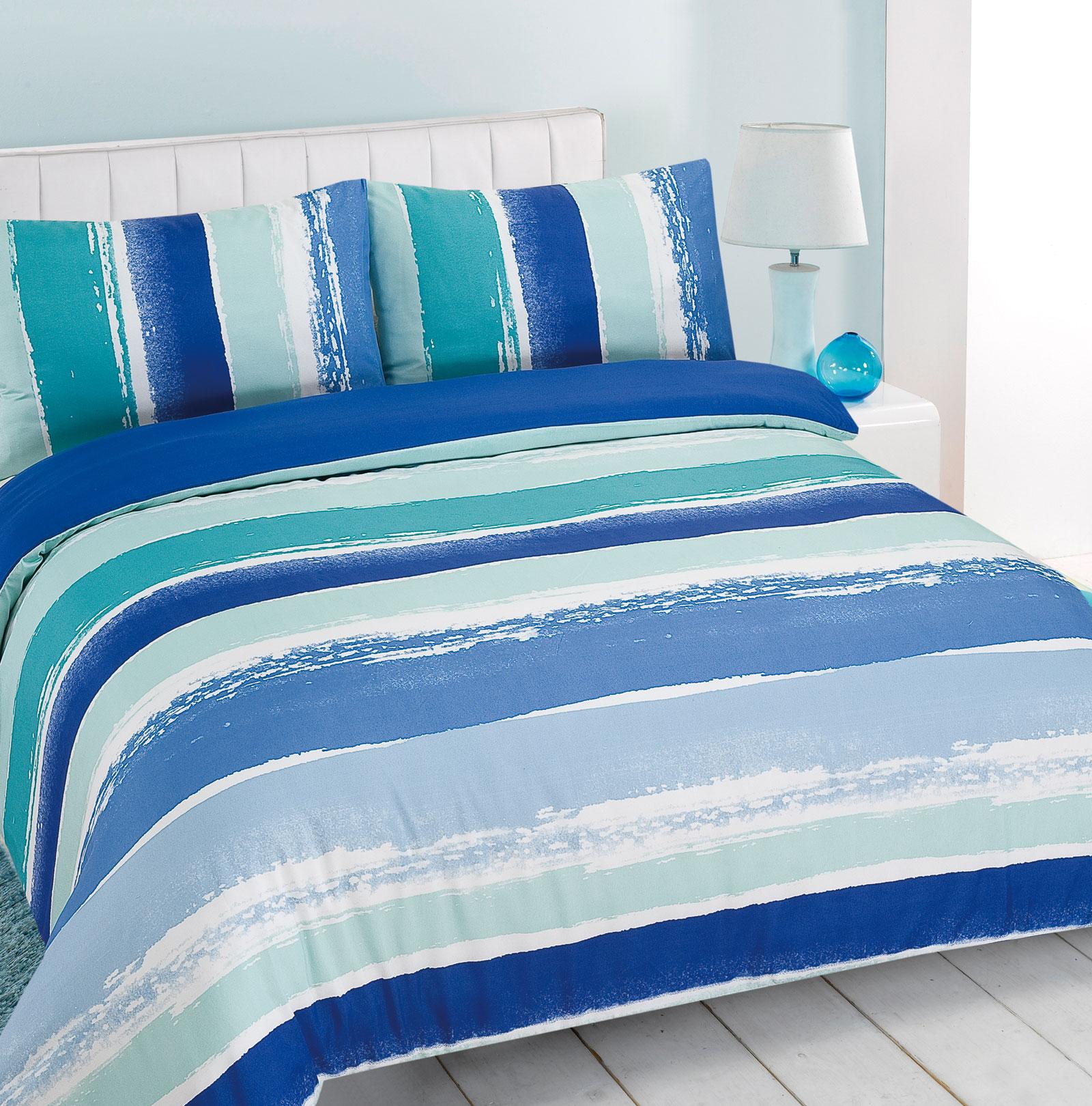 Blue and green striped bedding - Duvet Cover With Pillowcase Portobello Stripe Blue Green