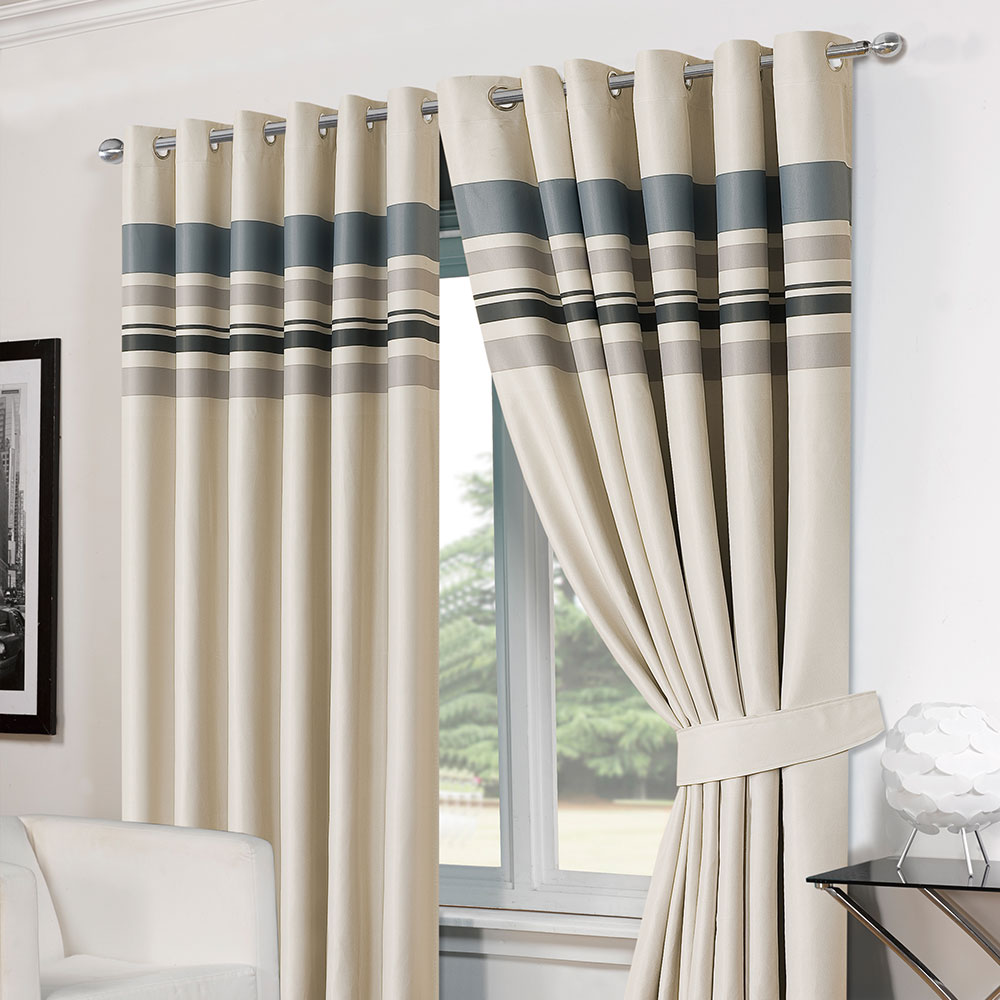 Thermal curtains grey - Thermal Curtains Striped Ring Top Lined Pair Eyelet Ready Made