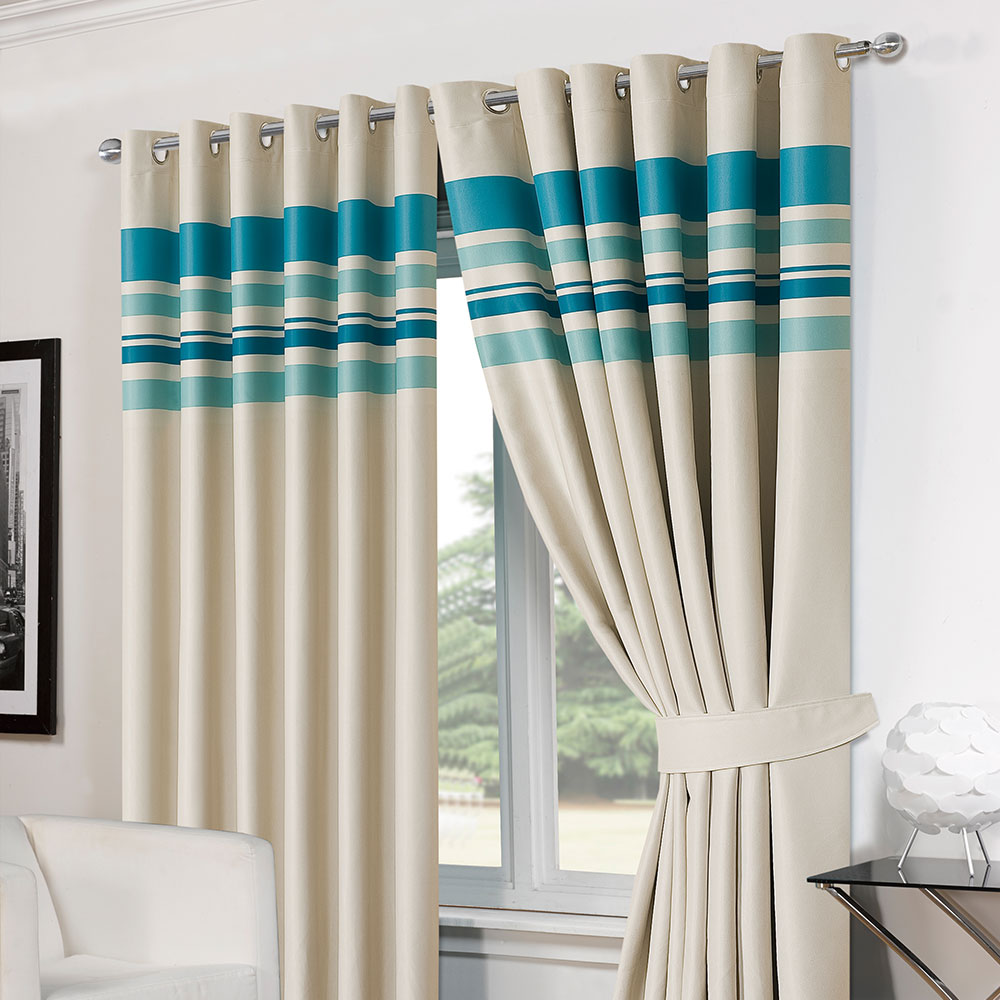 Striped Ring Top Lined Pair Eyelet Ready Made Thermal Blackout Curtains Tiebacks Ebay