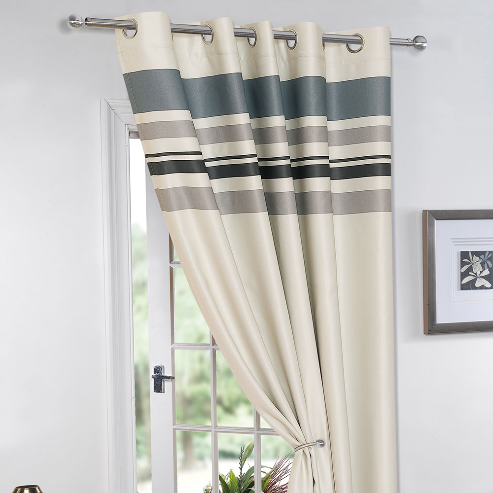 Thermal curtains grey - Striped Ring Top Lined Pair Eyelet Ready Made