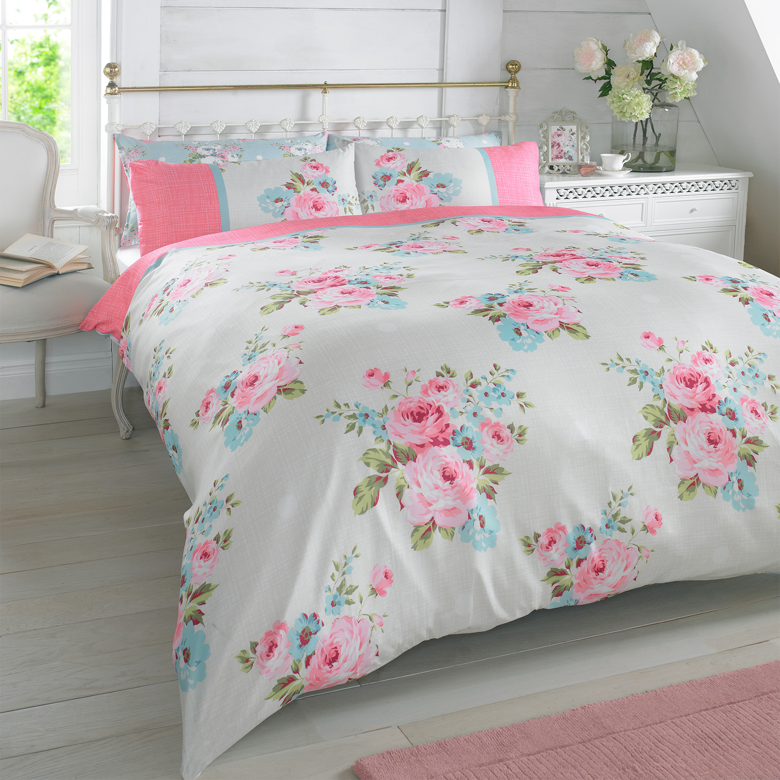 duvet quilt cover with pillowcase bedding set floral rosie pink  - duvet quilt cover with pillowcase bedding set floral rosie pink blue whiteroses