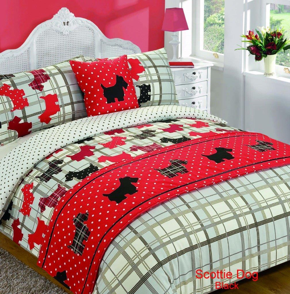 5 Piece Bed In Bag Duvet Quilt Cover Scottie Dog Tartan