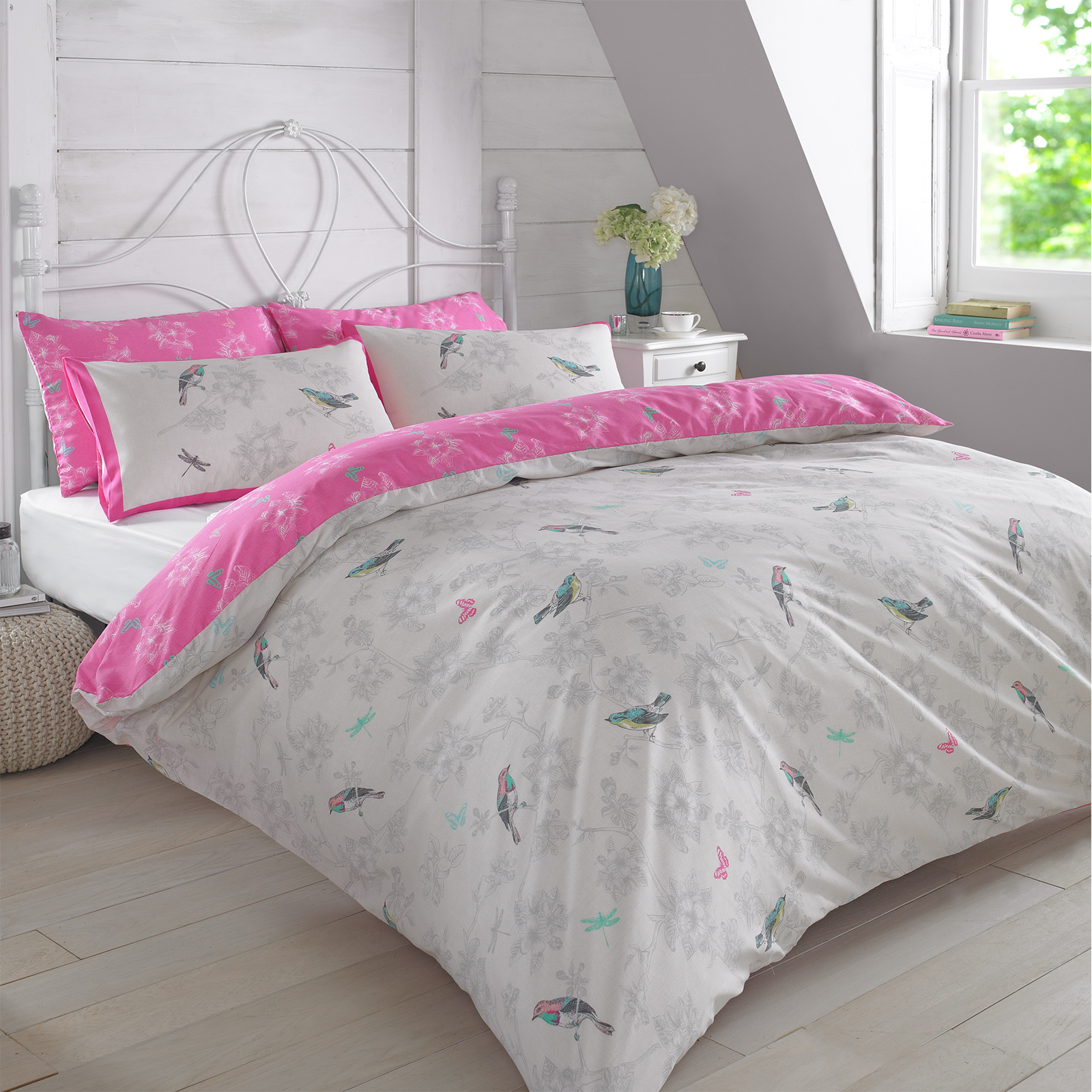 Duvet Cover With Pillowcase Bedding Set Vintage Bird Toile
