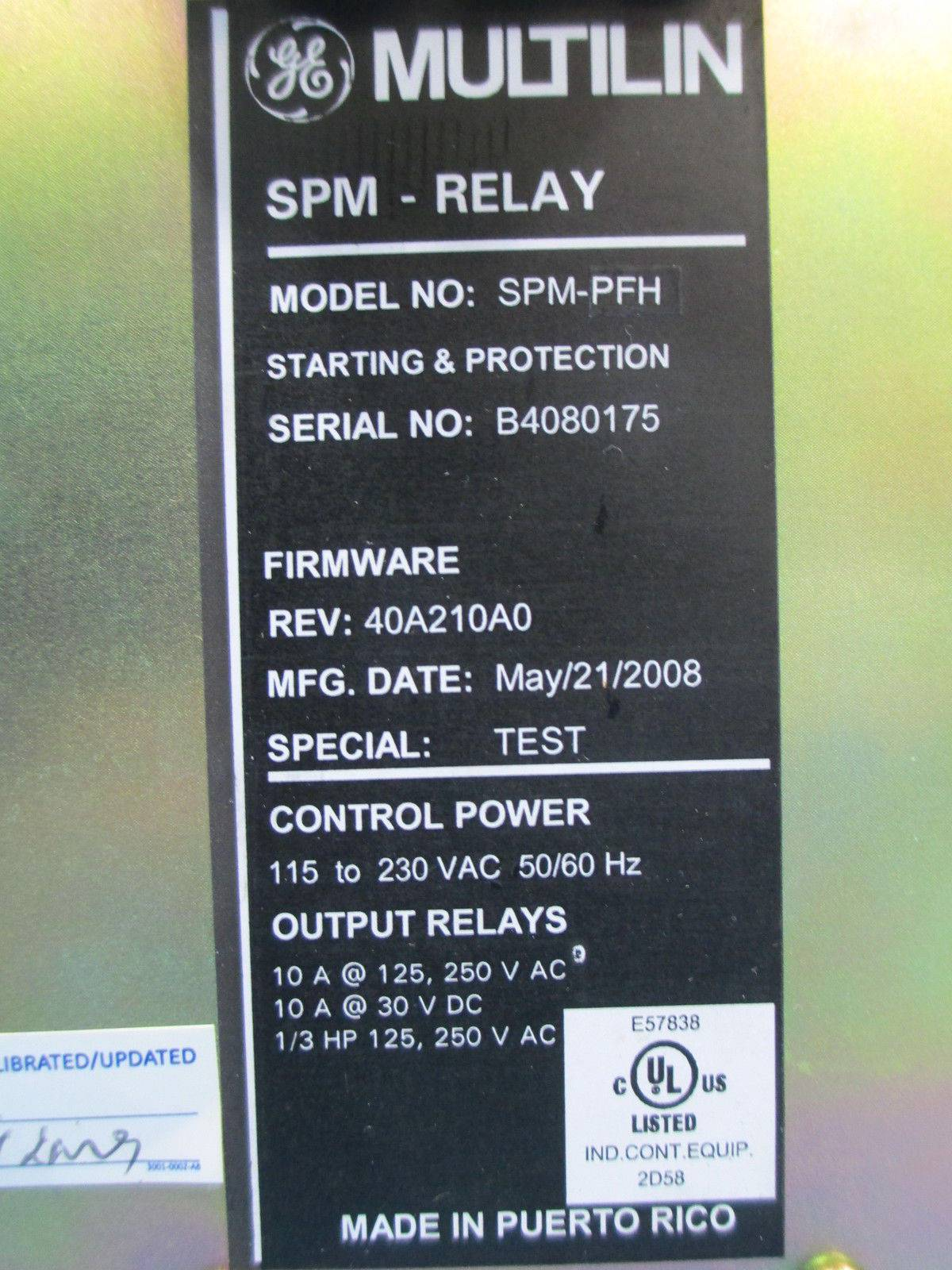 General Electric Multilin SPMPFH Starting Protection Relay SPMPFH