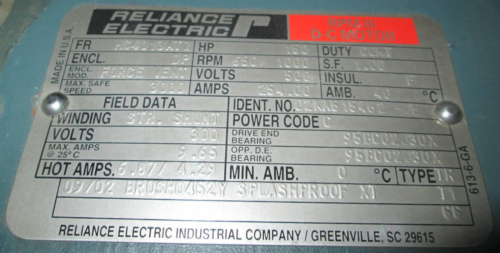 Wiring Diagram For Reliance Motors : Motor nameplate rpm impremedia