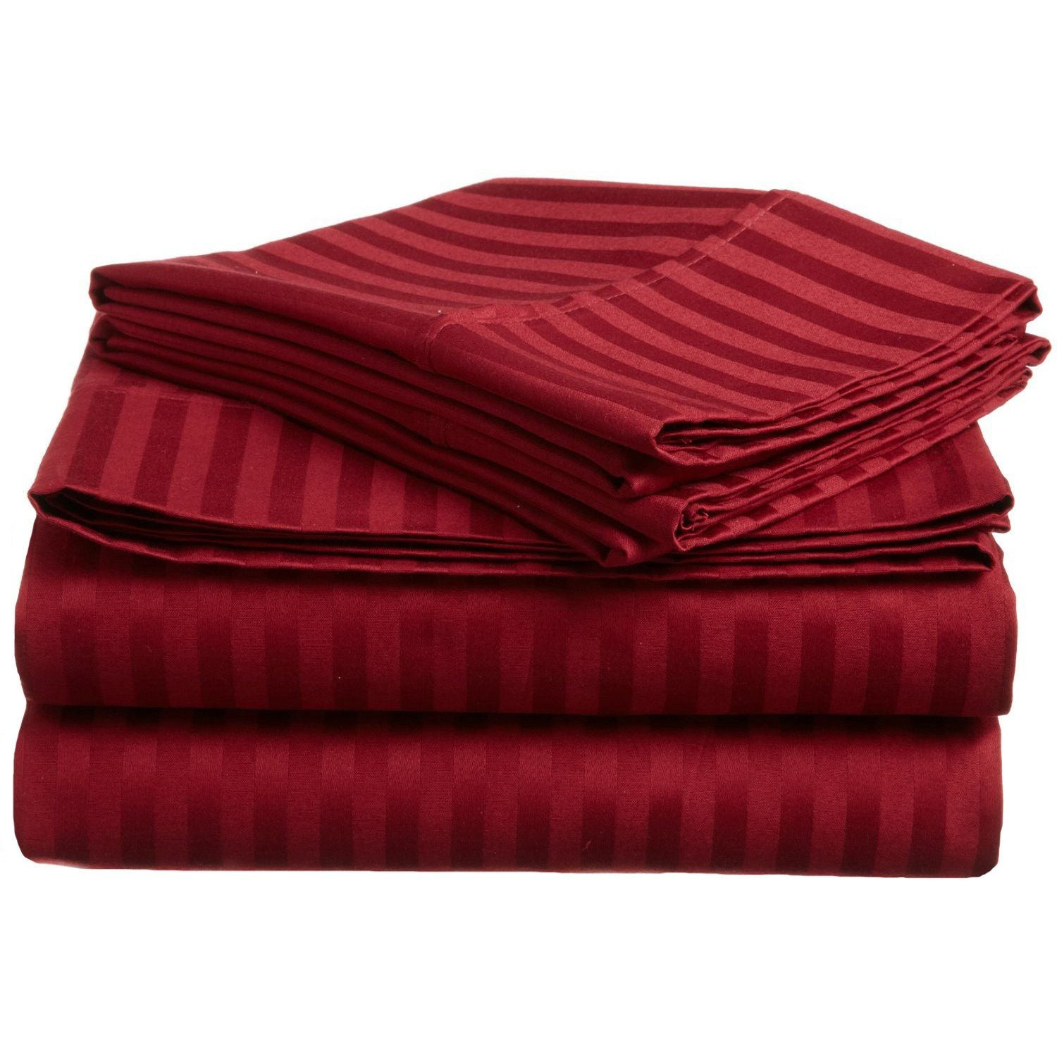300 tc cal king sheet set egyptian cotton stripe burgundy for Highest thread count egyptian cotton sheets