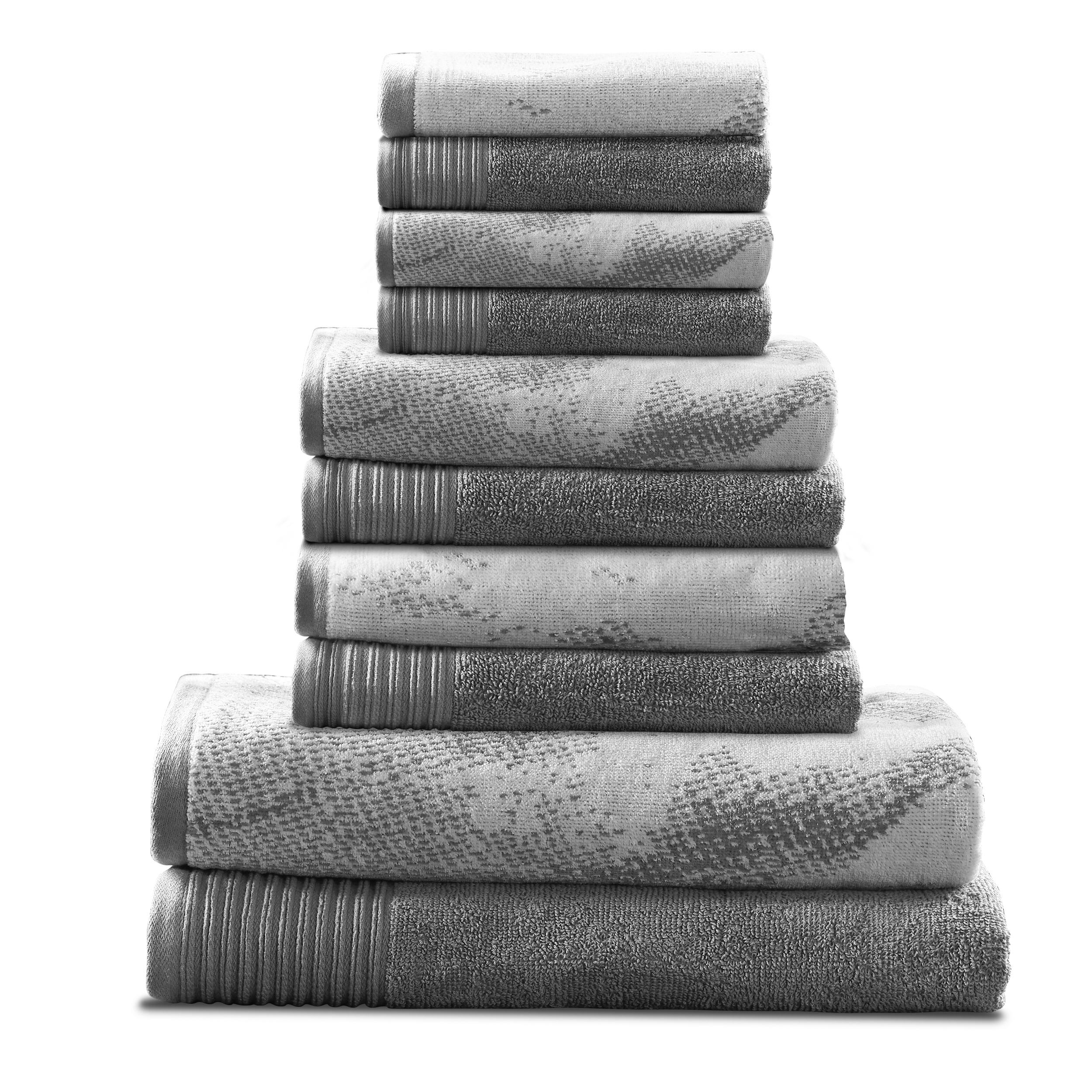 Marble Effect 500 GSM 10-Pieces Albatross 100/% Combed Cotton Towel Set