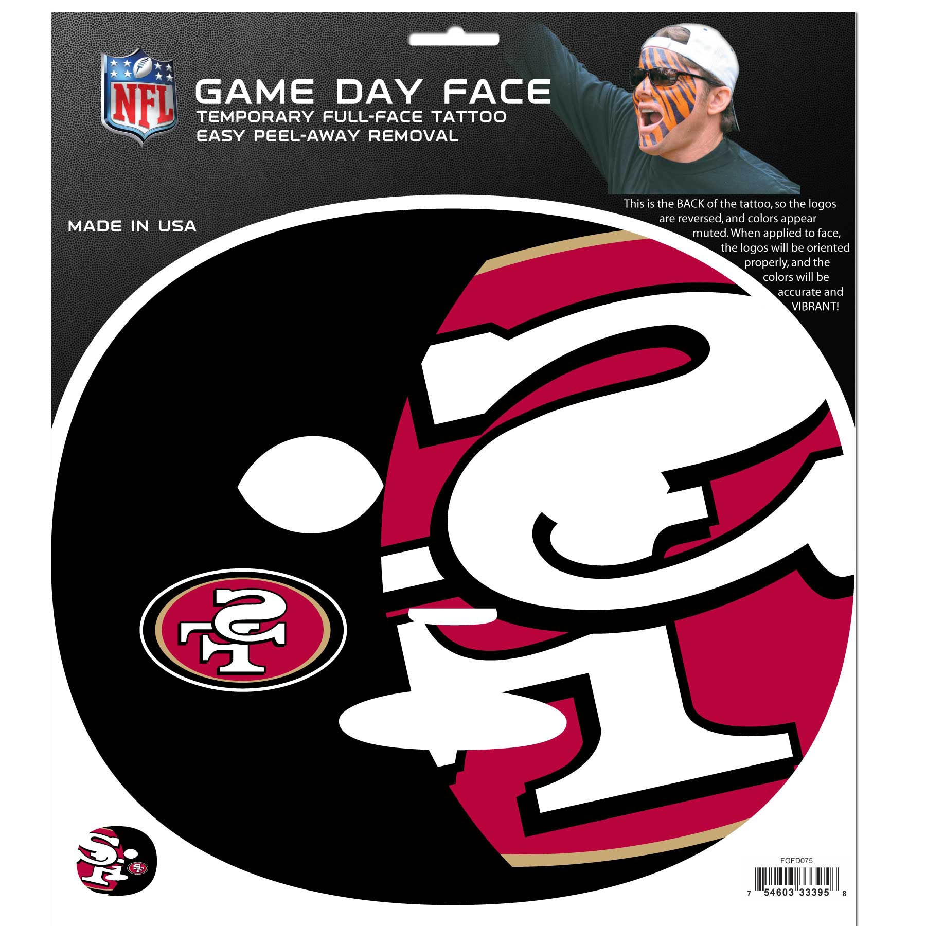 NFL Gameday Face Temporary Tattoo - Choose Your Team