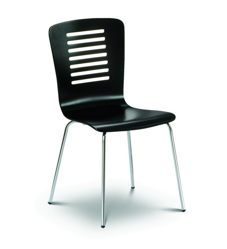 details about 2 x kudos black slatted dining chair with chrome legs