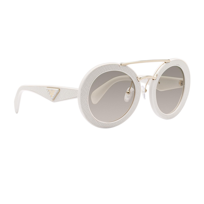 Prada White Frame Glasses : Prada 15SS Round Sunglasses UFP3H2 Ivory White Frame Brown ...