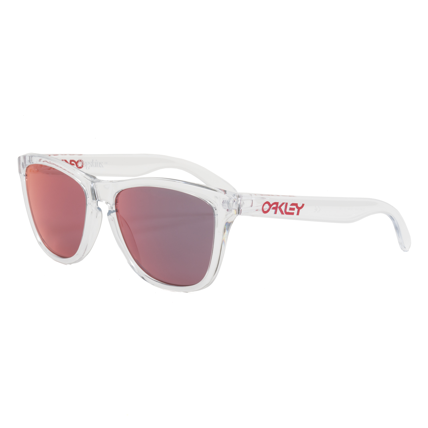 clear oakley frogskins 2ay1  Oakley Frogskins Crystal Sunglasses OO9013-A5 Clear / Torch Iridium Red  Mirrored