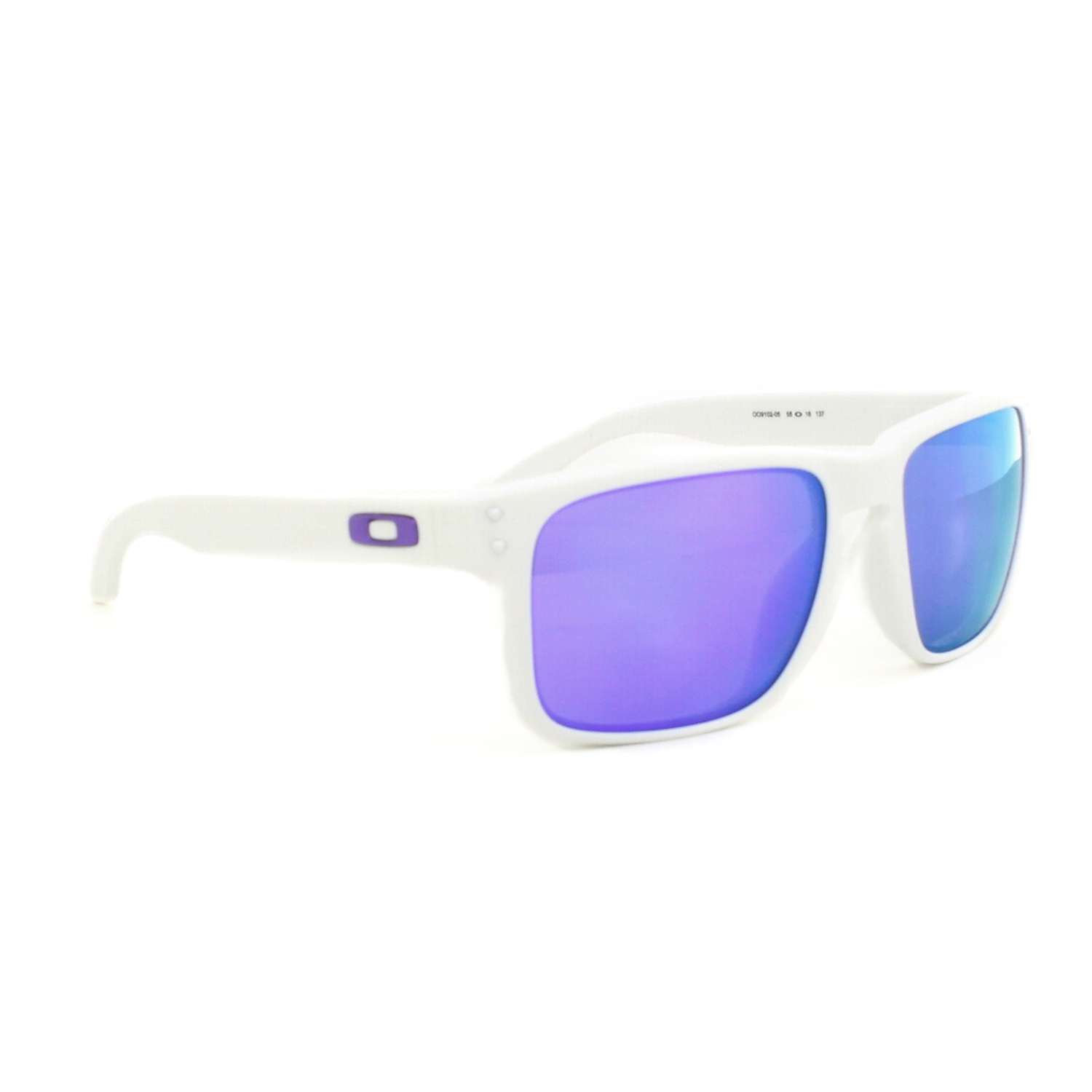 blue and white oakley sunglasses ctxu  Oakley Holbrook Sunglasses OO9102-05 Matte White Frame Violet Iridium Lens