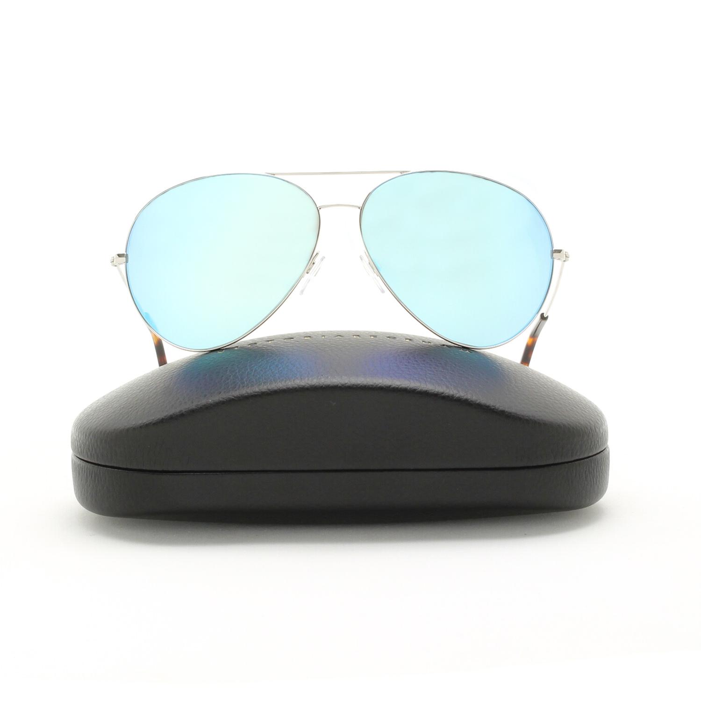 blue mirrored ray ban aviators  silver / sky blue